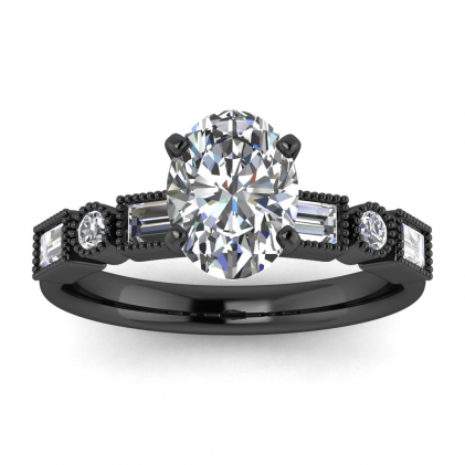 14k Black Gold Amara Oval Diamond Baguette Ring (3/5 CT. TW.)