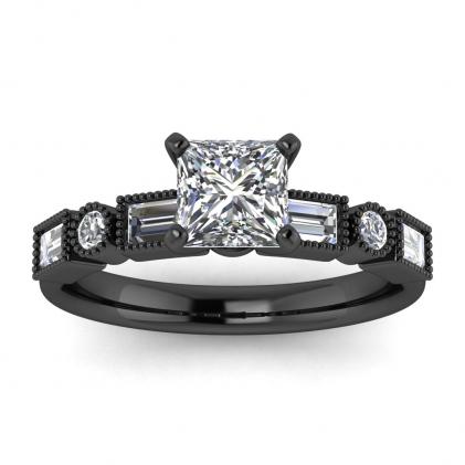 14k Black Gold Amara Princess Cut Diamond Baguette Ring (3/5 CT. TW.)