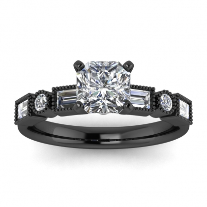14k Black Gold Amara Radiant Cut Diamond Baguette Ring (3/5 CT. TW.)