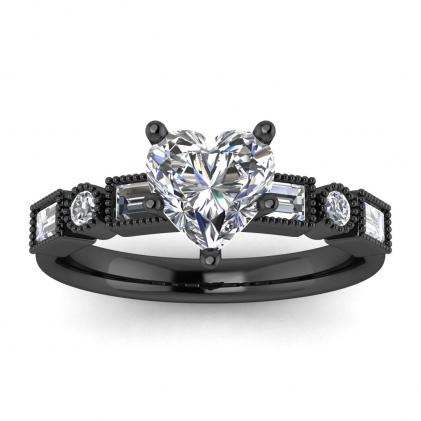14k Black Gold Amara Heart Shaped Diamond Baguette Ring (3/5 CT. TW.)