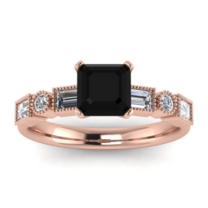 14k Rose Gold Amara Asscher Cut Black Diamond and Diamond Baguette Ring (3/5 CT. TW.)