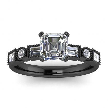 14k Black Gold Amara Asscher Cut Diamond Baguette Ring (3/5 CT. TW.)