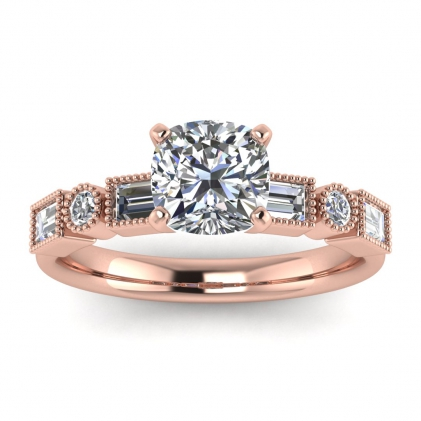 14k Rose Gold Amara Cushion Cut Diamond Baguette Ring (3/5 CT. TW.)