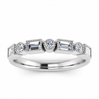 14k White Gold Amara Vintage Diamond Wedding Ring (3/4 CT. TW.)