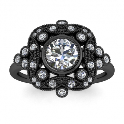 14k Black Gold Adeline Vintage Diamond Engagement Ring (1/4 CT. TW.)