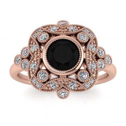 14k Rose Gold Adeline Vintage Black Diamond and Diamond Engagement Ring (1/4 CT. TW.)