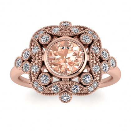 14k Rose Gold Adeline Vintage Morganite and Diamond Engagement Ring (1/4 CT. TW.)