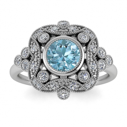 14k White Gold Adeline Vintage Aquamarine and Diamond Engagement Ring (1/4 CT. TW.)