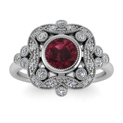 14k White Gold Adeline Vintage Garnet and Diamond Engagement Ring (1/4 CT. TW.)