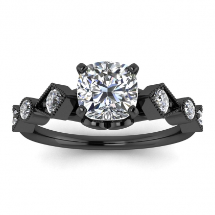 14k Black Gold Annabelle Geometric Cushion Cut Diamond Engagement Ring (1/4 CT. TW.)