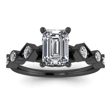 14k Black Gold Annabelle Geometric Emerald Cut Diamond Engagement Ring (1/4 CT. TW.)