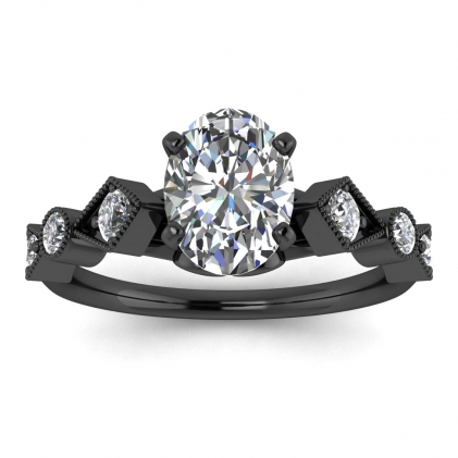 14k Black Gold Annabelle Geometric Oval Diamond Engagement Ring (1/4 CT. TW.)