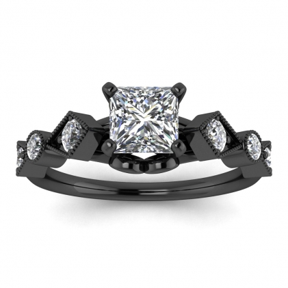 14k Black Gold Annabelle Geometric Princess Cut Diamond Engagement Ring (1/4 CT. TW.)