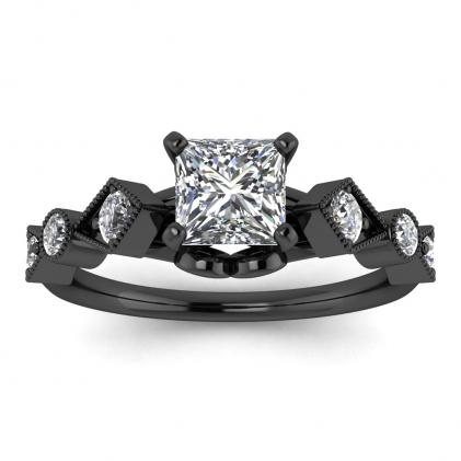 14k Black Gold Annabelle Geometric Princess Cut Diamond Engagement Ring (1/4 CT. TW.)