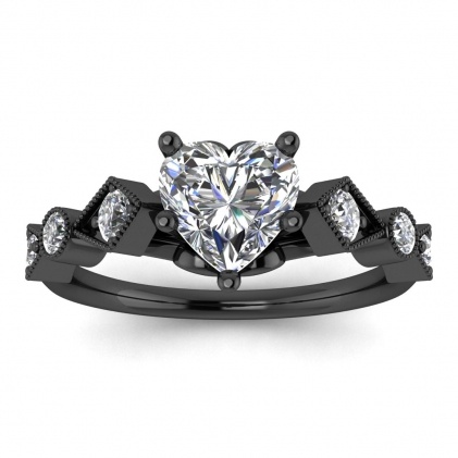 14k Black Gold Annabelle Geometric Heart Shaped Diamond Engagement Ring (1/4 CT. TW.)