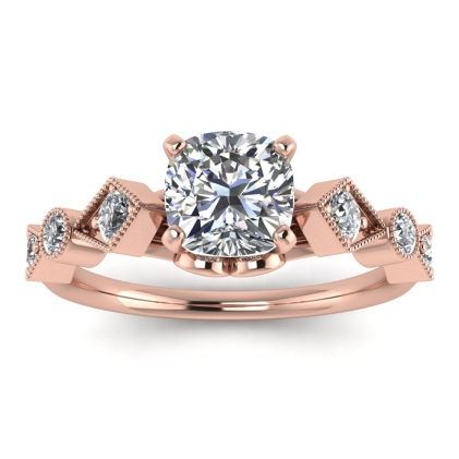 14k Rose Gold Annabelle Geometric Cushion Cut Diamond Engagement Ring (1/4 CT. TW.)