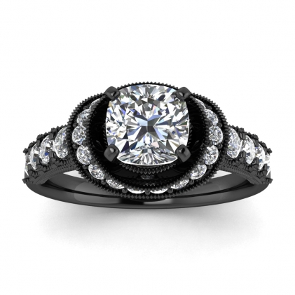 14k Black Gold Celeste Cushion Cut Diamond Ring (3/5 CT. TW.)