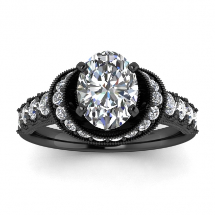 14k Black Gold Celeste Oval Diamond Ring (3/5 CT. TW.)