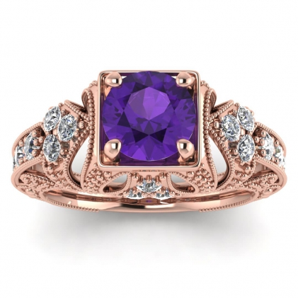 14k Rose Gold Elsie Engraved Amethyst and Diamond Ring (1/2 CT. TW.)