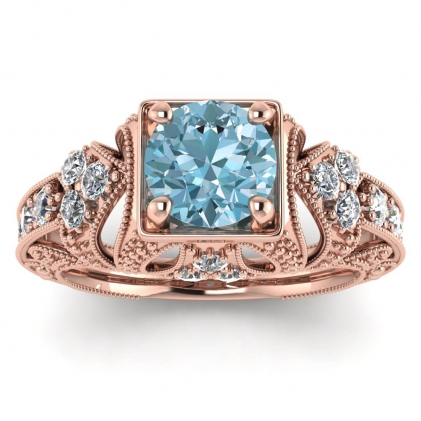 14k Rose Gold Elsie Engraved Aquamarine and Diamond Ring (1/2 CT. TW.)