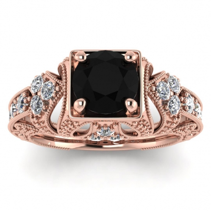 14k Rose Gold Elsie Engraved Black Diamond and Diamond Ring (1/2 CT. TW.)