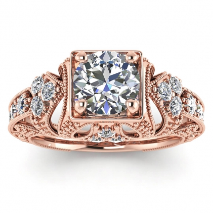 14k Rose Gold Elsie Engraved Diamond Ring (1/2 CT. TW.)