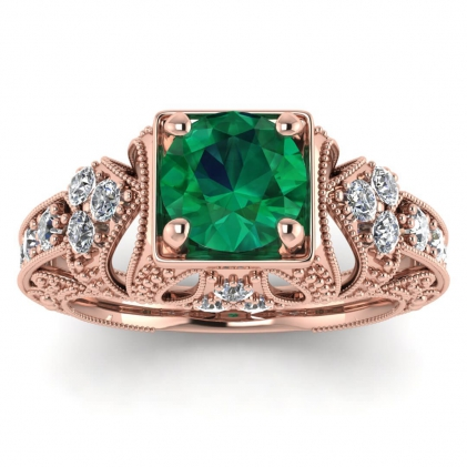 14k Rose Gold Elsie Engraved Emerald and Diamond Ring (1/2 CT. TW.)