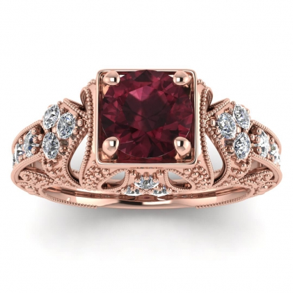 14k Rose Gold Elsie Engraved Garnet and Diamond Ring (1/2 CT. TW.)