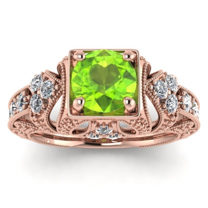 14k Rose Gold Elsie Engraved Peridot and Diamond Ring (1/2 CT. TW.)