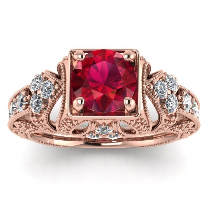 14k Rose Gold Elsie Engraved Ruby and Diamond Ring (1/2 CT. TW.)
