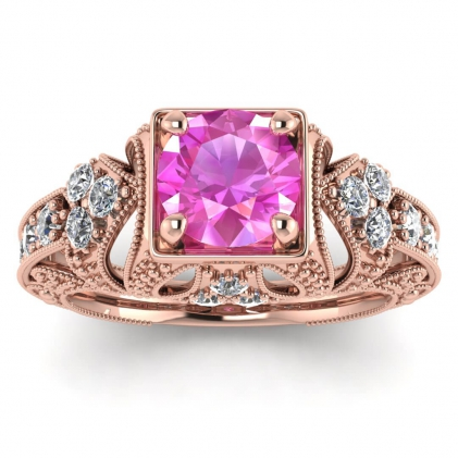14k Rose Gold Elsie Engraved Pink Sapphire and Diamond Ring (1/2 CT. TW.)