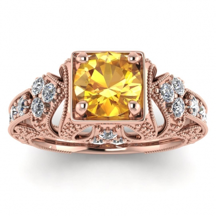 14k Rose Gold Elsie Engraved Yellow Sapphire and Diamond Ring (1/2 CT. TW.)