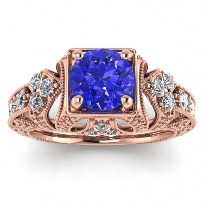 14k Rose Gold Elsie Engraved Sapphire and Diamond Ring (1/2 CT. TW.)