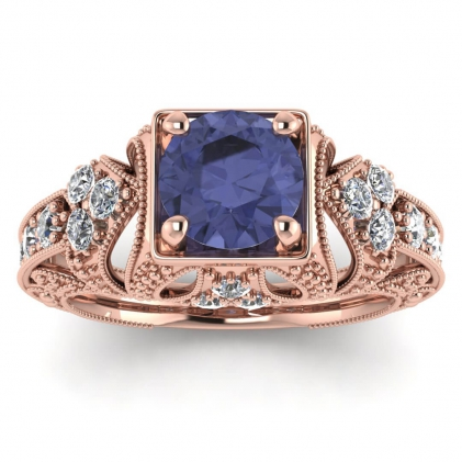 14k Rose Gold Elsie Engraved Tanzanite and Diamond Ring (1/2 CT. TW.)