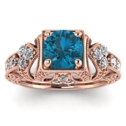 14k Rose Gold Elsie Engraved Blue Topaz and Diamond Ring (1/2 CT. TW.)