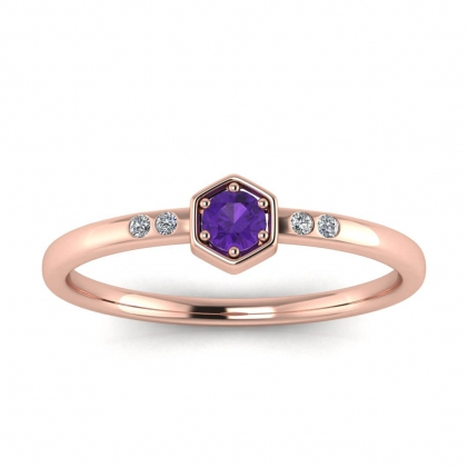 14k Rose Gold Calliope Delicate Amethyst and Diamond Ring