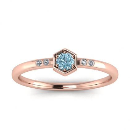 14k Rose Gold Calliope Delicate Aquamarine and Diamond Ring