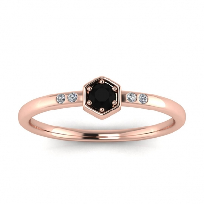 14k Rose Gold Calliope Delicate Black Diamond and Diamond Ring