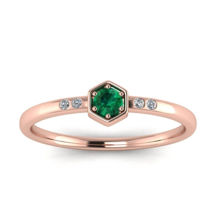 14k Rose Gold Calliope Delicate Emerald and Diamond Ring