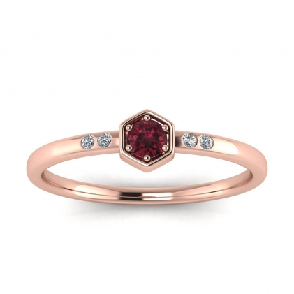 14k Rose Gold Calliope Delicate Garnet and Diamond Ring