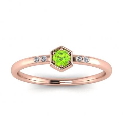 14k Rose Gold Calliope Delicate Peridot and Diamond Ring