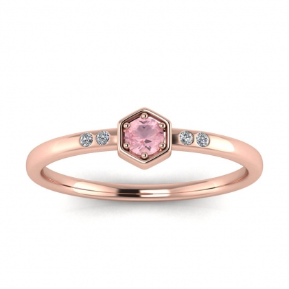14k Rose Gold Calliope Delicate Rose Quartz and Diamond Ring