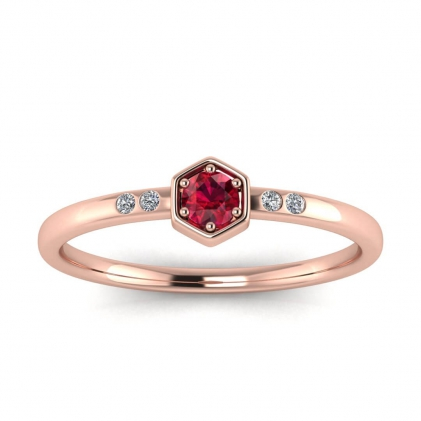 14k Rose Gold Calliope Delicate Ruby and Diamond Ring