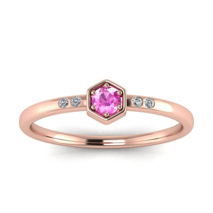 14k Rose Gold Calliope Delicate Pink Sapphire and Diamond Ring