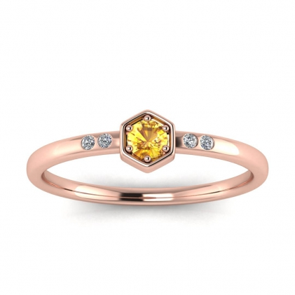 14k Rose Gold Calliope Delicate Yellow Sapphire and Diamond Ring