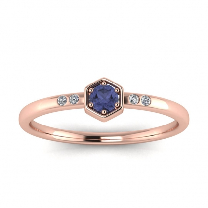 14k Rose Gold Calliope Delicate Tanzanite and Diamond Ring