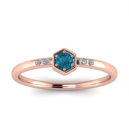 14k Rose Gold Calliope Delicate Blue Topaz and Diamond Ring