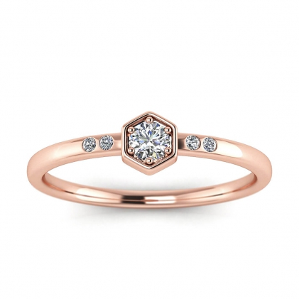 14k Rose Gold Calliope Delicate Diamond Ring