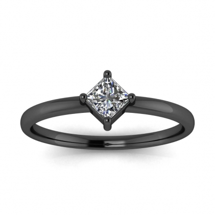 14k Black Gold Aria Thin Princess Cut Diamond Ring