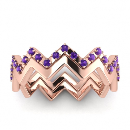 14k Rose Gold Adele Amethyst Wedding Set